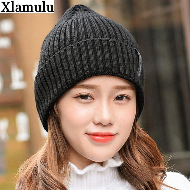 Xlamulu Fashion Men Skullies Beanies Knitted Hat Winter Hats For Women Plain Warm Male Gorros Bonnet Caps Thicken Solid Beanies 1