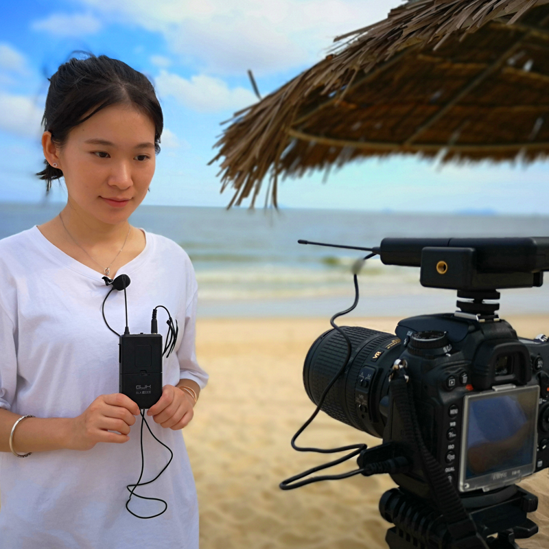 Dv recording with SLR camera wireless microphone interview and shoot like video clip computer mobile phone