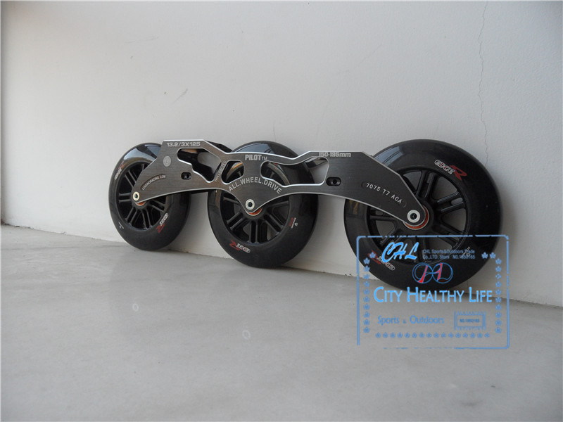 Pilot 3*125mm Inline Speed Skate Frame With 125mm Schankel Edge Skating Wheels With ILQ-9 Bearings 13.2 Basin 150mm-195mm cityrun inline speed skate frame 3 125mm 12 6 aluminum alloy 7075 for 3 wheels speed skating shoes basins free shipping bases