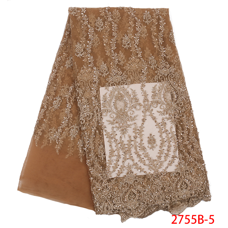 Embroidery African French Tulle Lace with Beads Luxury Handmade Beads Lace Fabrics for Women Dresses Beaded Lace Fabric APW2755B-in Lace from Home & Garden    1