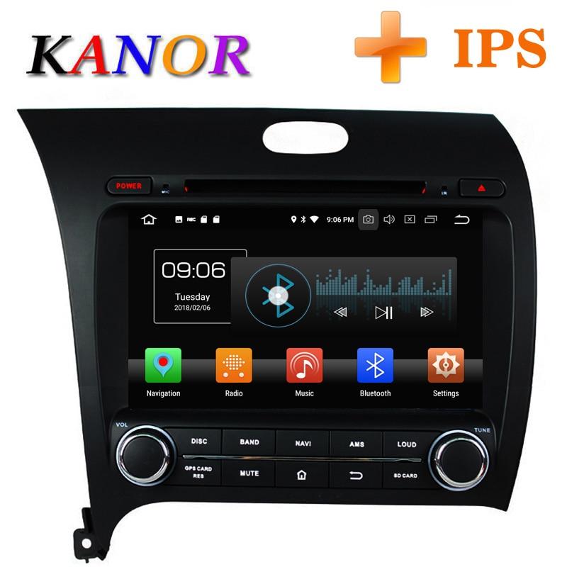 KANOR Android 8.0 Huit Core 4 + 32g IPS 2din Autoradio Lecteur Vidéo Pour KIA Cérat Forte K3 2013 Avec Bluetooth WIFI Audio CFC