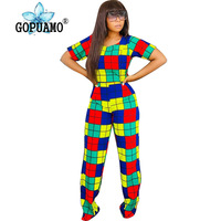 Rainbow Plaid Print Two Piece Sweatsuit Women Rave Clothes O Neck Short Sleeve T Shirts And Straight Long Pant 2Pcs Club Outfit