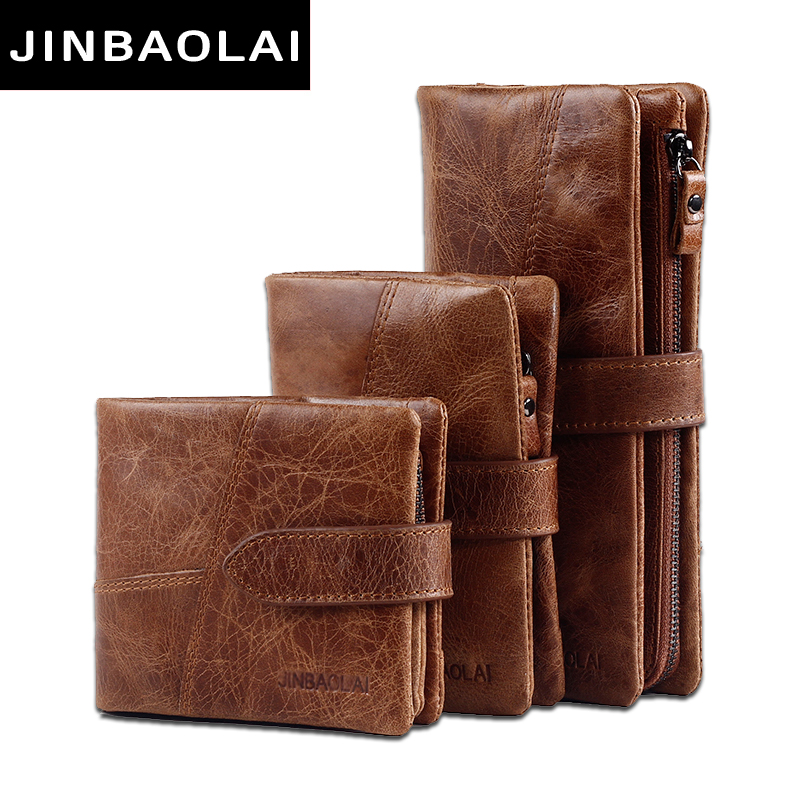 Jinbaolai genuine crazy horse cowhide leather men wallets for Yamaha leather wallet