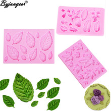 M961 Sugarcraft Bladeren Silicone Mold Candy Polymer Clay Fondant Mold Cake Decorationg Tool Bloem Maple GumPaste Rose Leaf Mold(China)