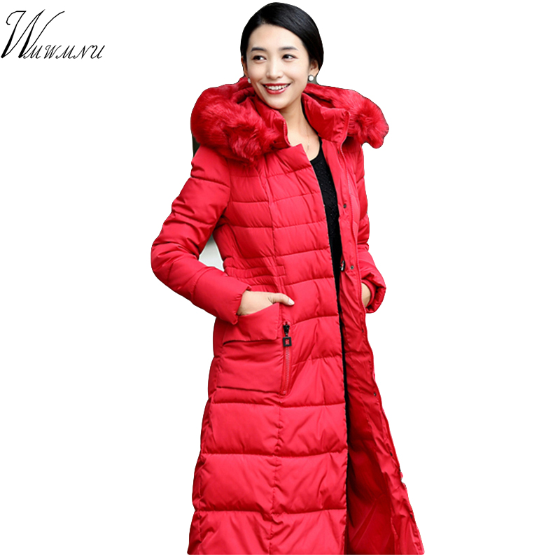 Wmwmnu plus size slim winter jacket women Thicken cotton Warm Long Jacket Female Outerwear Hooded Fur Collar Parka Ladies wmwmnu women winter long parkas hooded slim jacket fashion women warm fur collar coat cotton padded female overcoat plus size