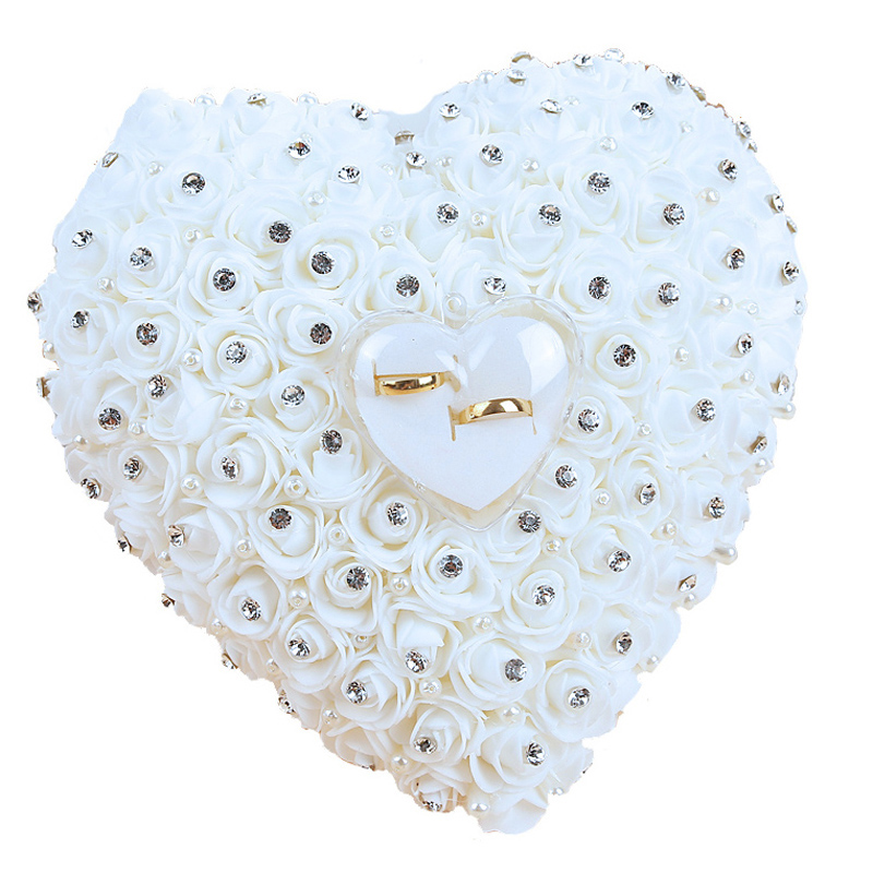 Wedding Favors Hang Ring Pillow With Transparent Box Heart Design With Rhinestone And Pearl Decor Wedding Ring Cushion Decorat(China)
