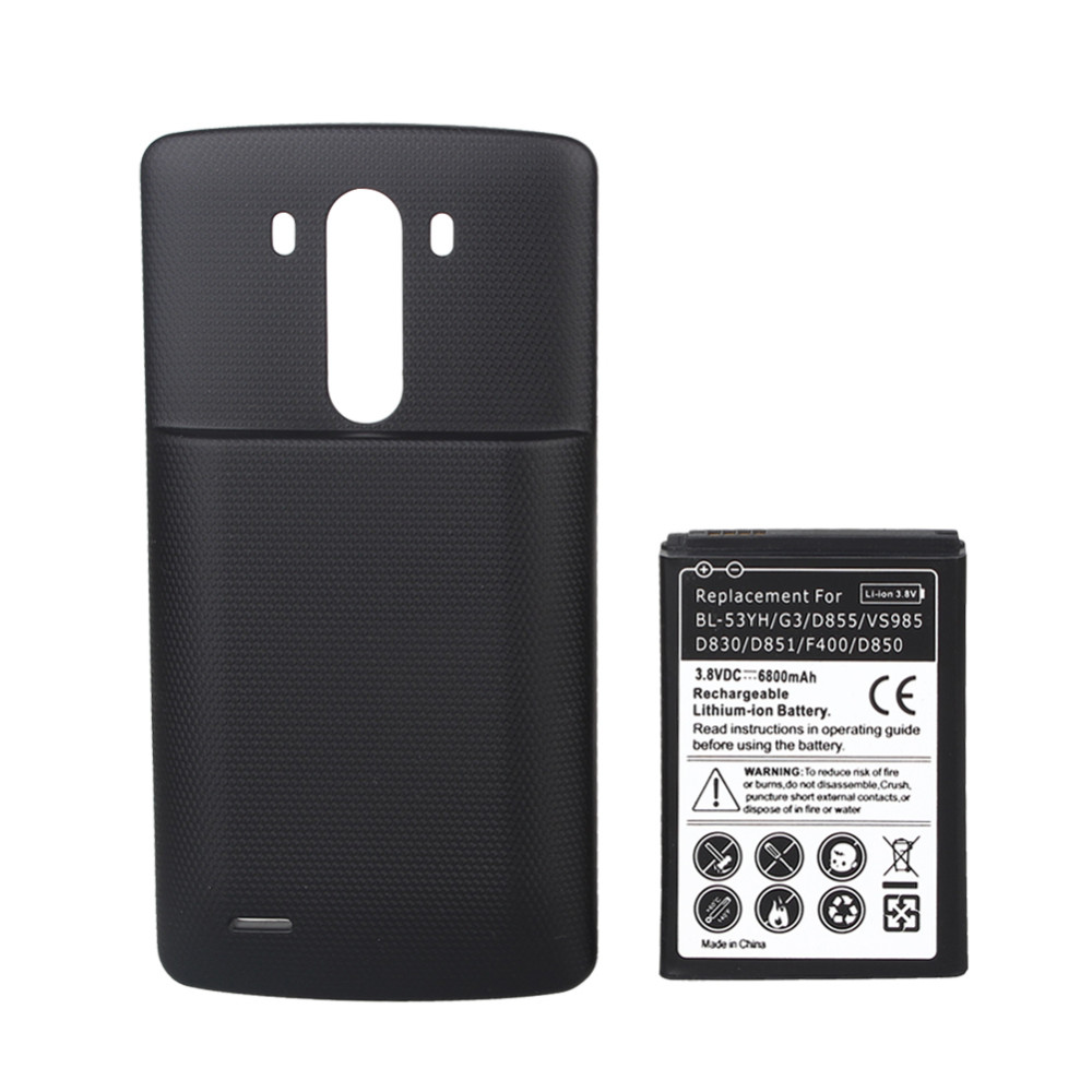 6800mAh Battery For LG G3 D855 VS985 D830 D851 F400 D850 Cell Phone Replacement Rechargeable Extended Batteria +Black Back cover