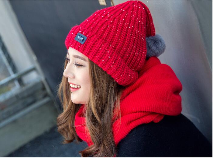 Free Shipping 1 PCS Fashion 2016 Autumn And Winter Hats Warm Knitting Ball Cap Casual Outdoor Caps For Women WCXD010