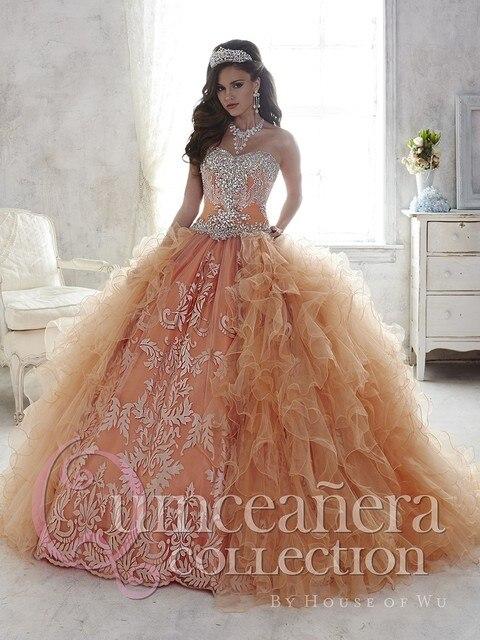 2016 Coral vestido de Baile Quinceanera Vestidos Bordados de Contas de Cetim Barato Vestido de Concurso de Vestidos De 15 Años Doce 16 Vestido QD66