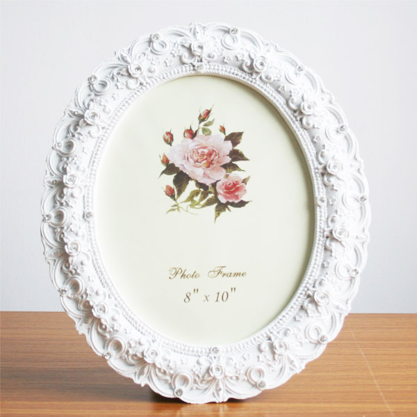 Retro Style White Rose Flower Oval Home Photo Frame Picture Resin 8 ...