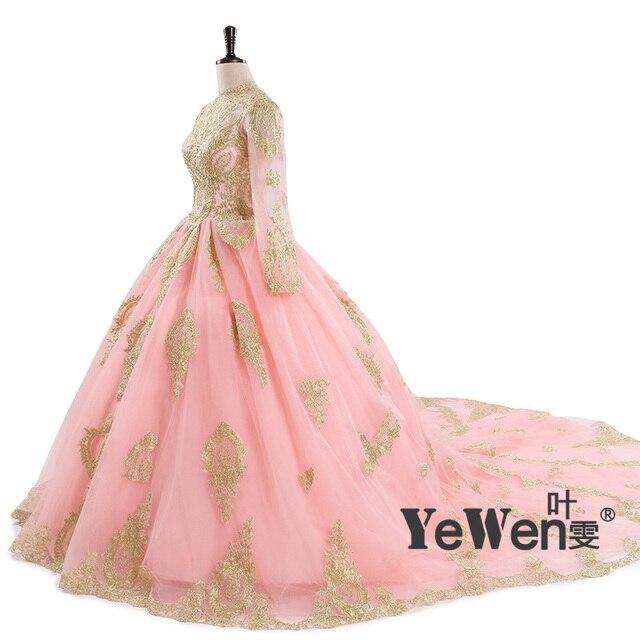 Ball Gown Wedding Dresses Vintage 2018 Pink Black Long sleeve Muslim ...