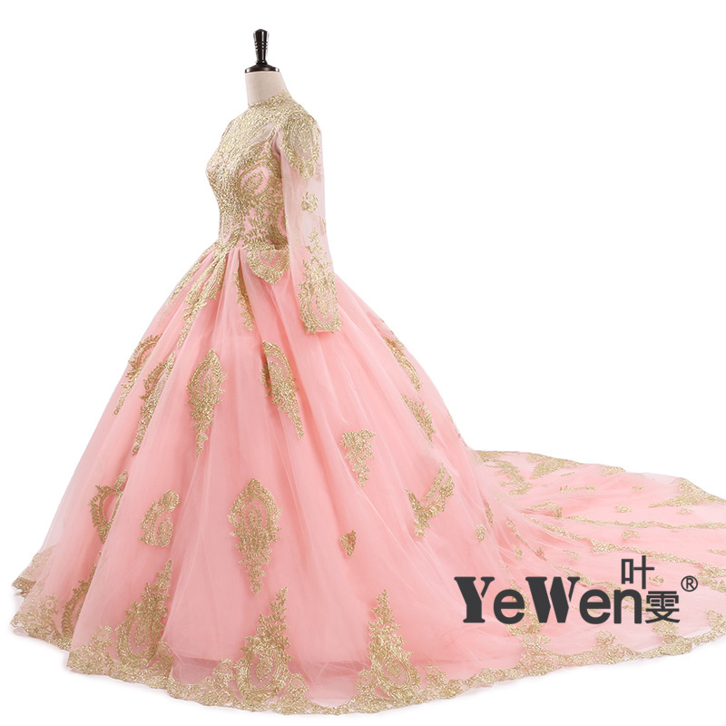 Online get cheap ivory gold wedding dress for Pink and gold wedding dress