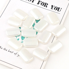 50g/bag About 40Pcs Pure White Rectangle Smooth Flat Pearl B