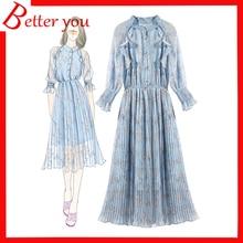 Hot sale Summer dress 2019 women new lace collar ruffle waist pleated fashion midi