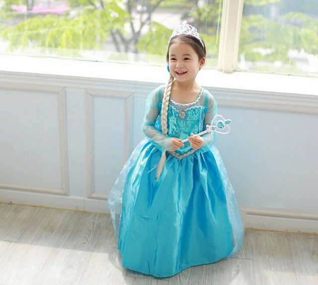 2016 girls elsa dress toddler girl halloween costumes vestido elsa traje de anna child fanny infanto