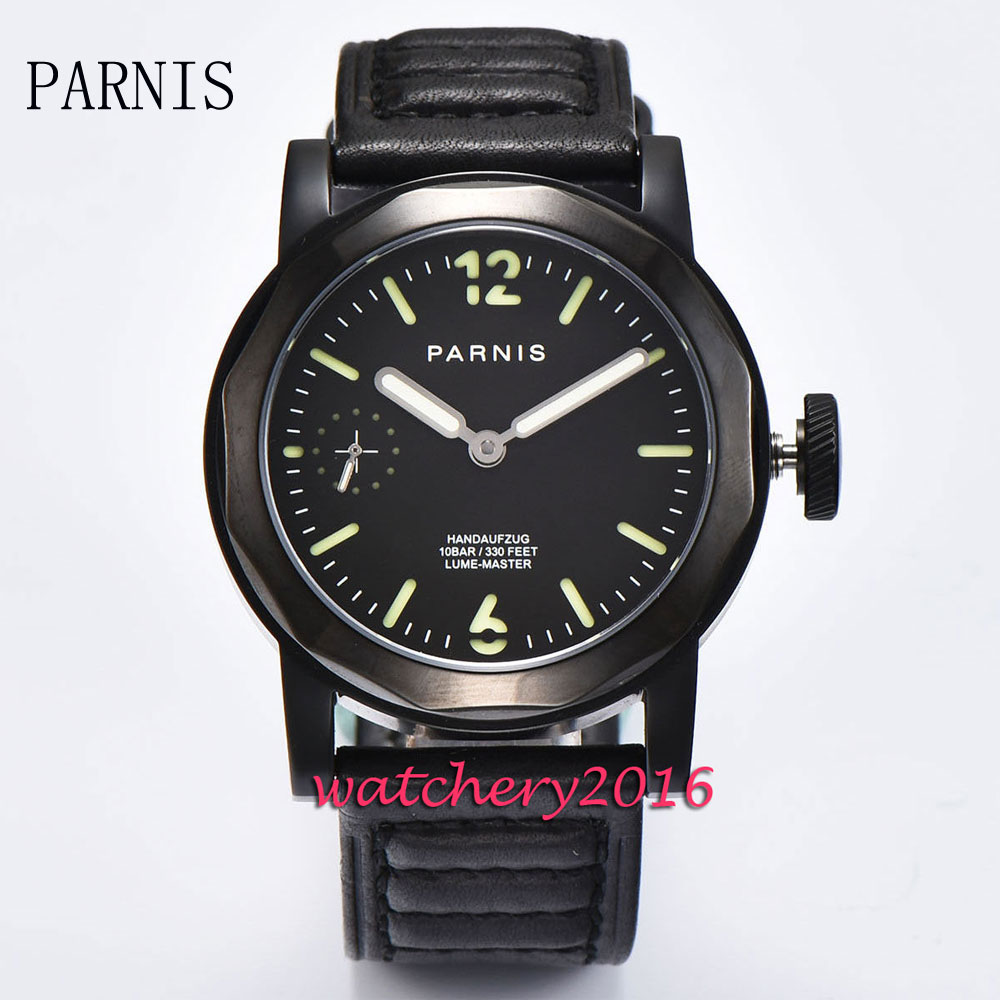 New 44mm Parnis black dial luminous hands black PVD case 6497 hand winding movement Men's watch 44mm black sterile dial green marks relojes 6497 mens mechanical hand winding watch luminous armbanduhr cm164bk