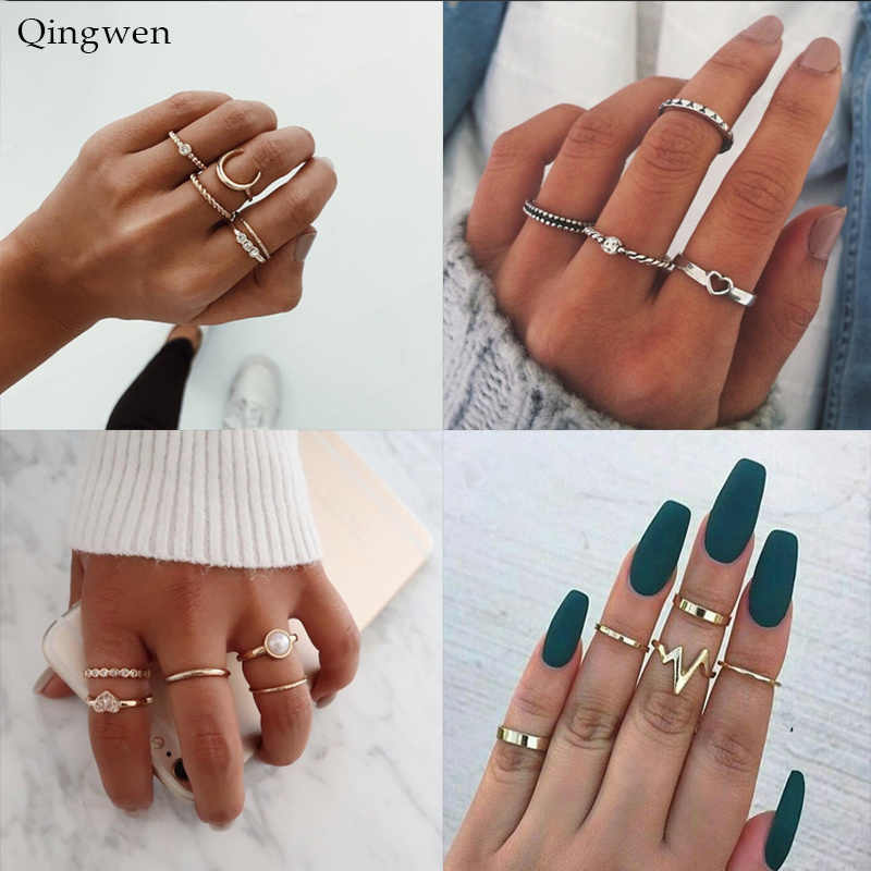 Qingwen Women Fashion Trend Pearl Love Lightning Moon Geometry Metal Ring Combination Ring Set Accessories Jewelry CA2232/w