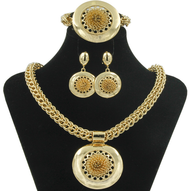 2017 African New Fashion Womens Hollow Flower Necklace Big Jewelry