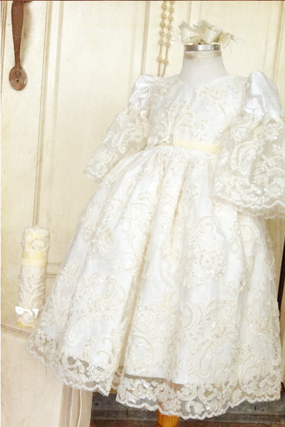 цена  2016 Luxury Customized Baptism Gown 0-24month Ivory Christening Dress Robe Baby Girl Baby Boy Lace Applique WITH BONNET  онлайн в 2017 году