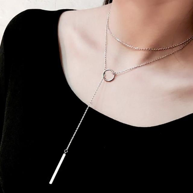 XIYANIKE Vintage 925 bijoux en argent Sterling cercle bande longue chaîne pendentifs et colliers en argent sterling collier ras du cou VNS8002