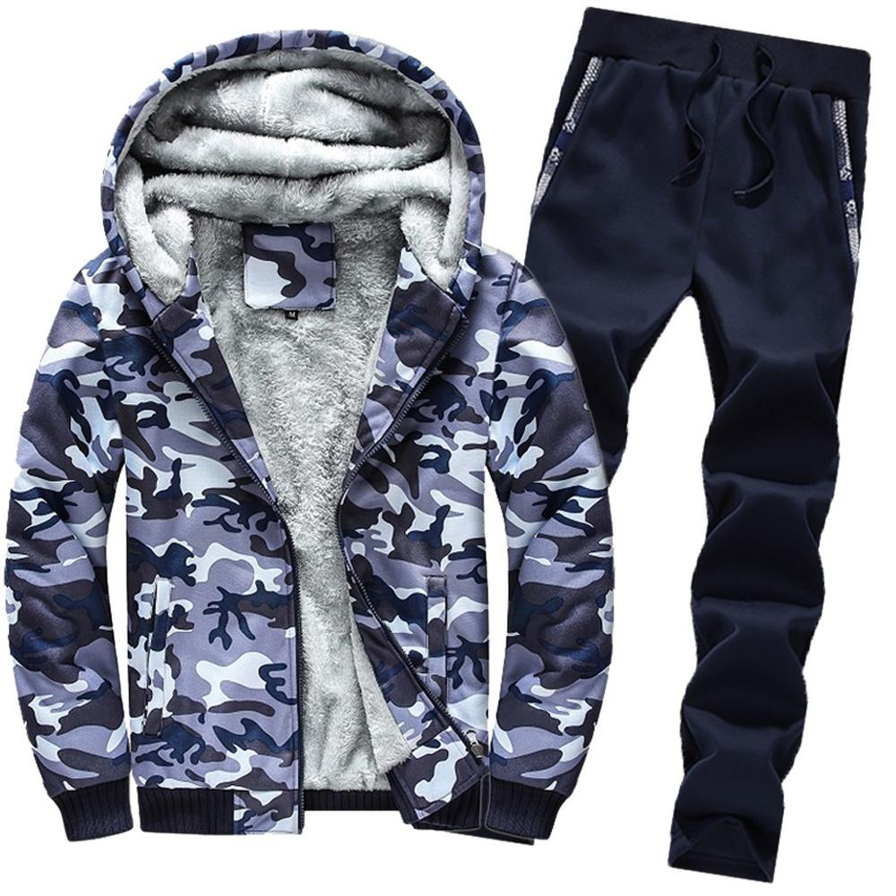 2 Pieces Sets Tracksuit Mens Winter Camouflag Sportswear Clothing Jacket Hoodie Pants Set Warm Fleece Zipper Sweater Sets j10(China)