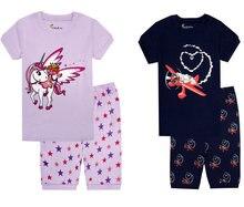 TINOLULING мальчиков летняя одежда для девочек с коротким рукавом хлопковые  пижамы единорог пижамы Детские пижамы Детская 5d24cedc41e0e
