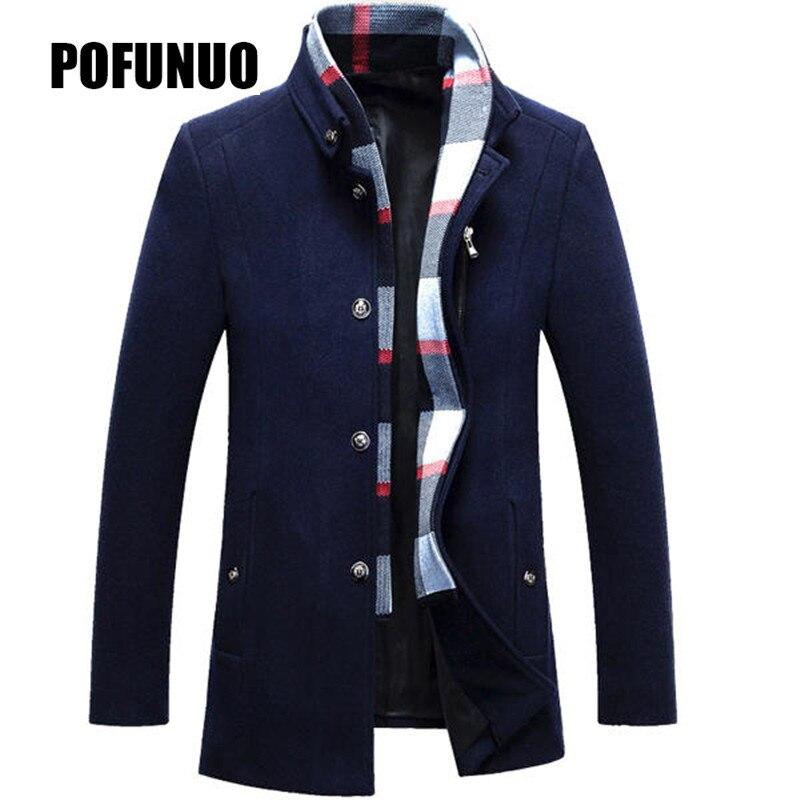 Top 2018 Winter Jakets Men Wool Jacket Detachable Scarf Stand Collar Business Mid long Jacket Trench Coat Thickened Woolen Coat