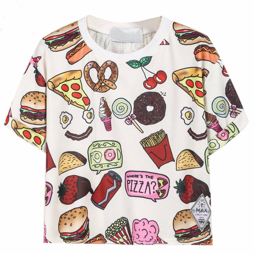 Fast Food Print T-Shirt Crop Top 3