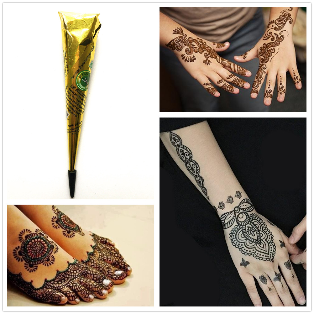 Temporary Tattoo Ink Like Henna: HOT Mehndi Black Ink Color Henna Tattoo Paste Indian