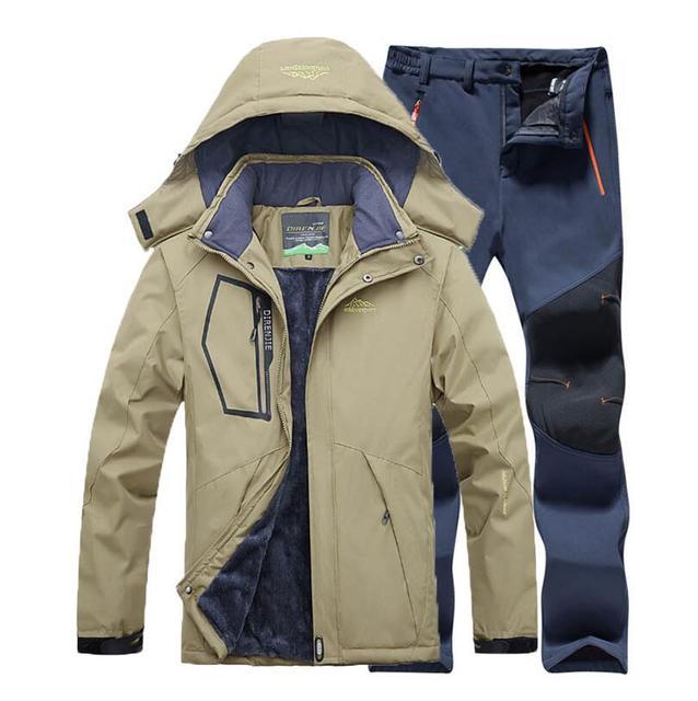 Invierno al aire libre hombres impermeable chaqueta Fleece Softshell pantalones  traje Camping senderismo esquí pesca rompevientos d0f84317c16