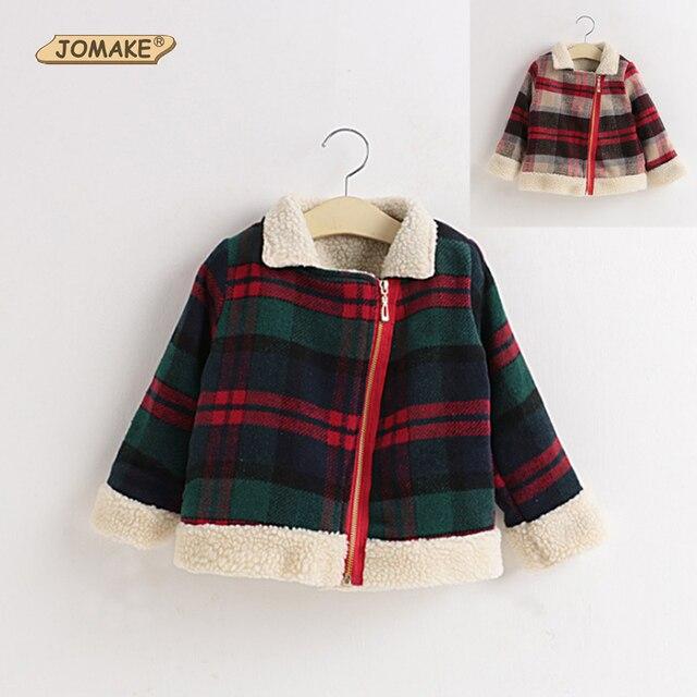 Autumn and Winter Girls Clothes Wool Cardigan Fleece Collar Windbreaker Children Fashion Plaid Woolen Coat Children Clothing
