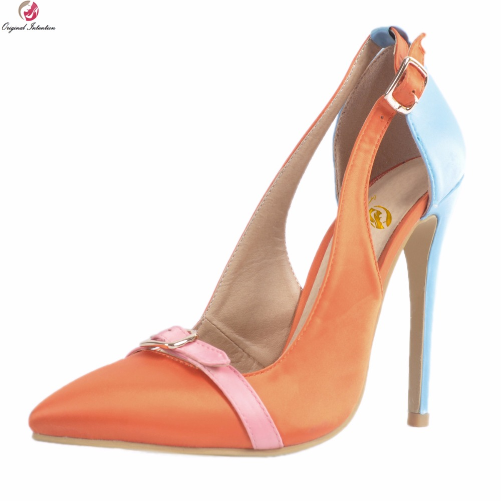 Original Intention New Stylish Women Pumps Pointed Toe Thin High Heel Pumps Fashion Orange&Blue Shoes Woman Plus US Size 4-15 new 2017 spring summer women shoes pointed toe high quality brand fashion womens flats ladies plus size 41 sweet flock t179