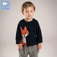 DB5576 dave bella automne bébé garçons renard imprimé t-shirt garçons cool top enfants de haute qualité t-shirts