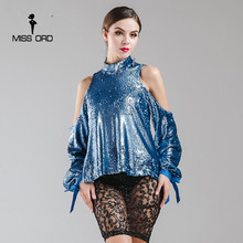 Missord 2018 Sexy high-necked long-sleeved sequin backless tops  FT4920