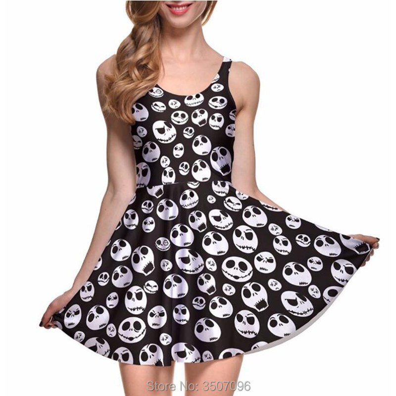 NEW Sexy Girls Halloween Dress Jack Skellington Nightmare Before Christmas Sleeveless Skater Pleated Dress Elastic Fitness