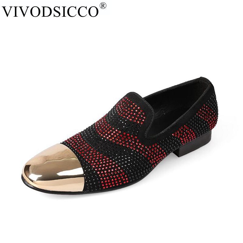 VIVODSICCO Men loafers Black Red Diamond Rhinestones Spiked Loafers Rivets shoes Comfort Bottom Wedding Party Trend Shoes