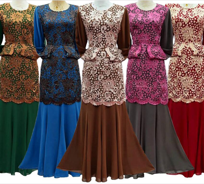 2016 Formal Ropa Mujer Adult Djellaba Real Turkish Jilbabs Abaya Muslim Ethnic Style New Lace Dress Fake Two-piece Free Shipping