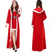 30729e4decf Drop Shipping 3Pcs Deluxe Women Christmas Long Dress Female Sexy Red Santa  Claus Cosplay Female Costume