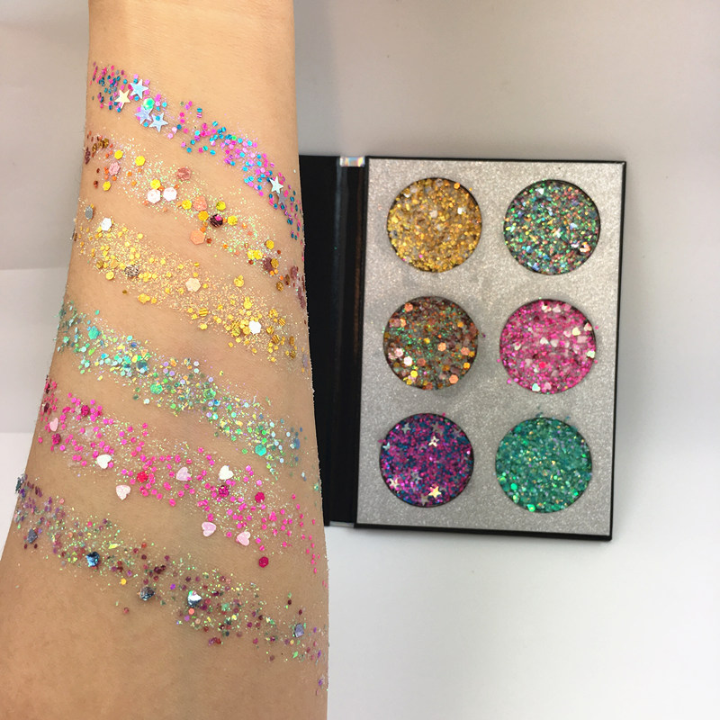 2018 New 6 Colors Glitter injections Pressed Glitter Eyeshadow Palette Diamond Rainbow Shimmer Makeup Palette Eyeshadow Pallete bracelet