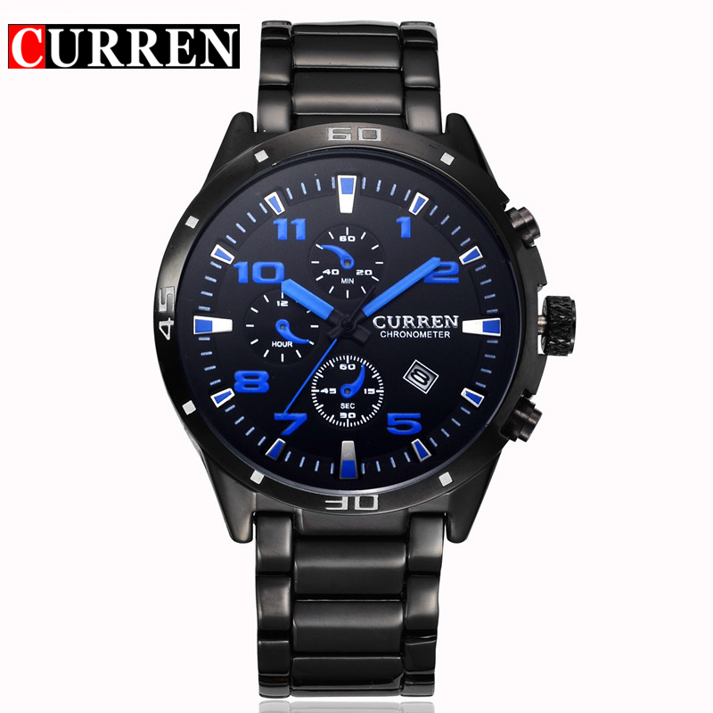 FASHION Mens Watch Waterproof Steel Band Watch Fashion Business Pointer Quartz Watch Calendar Leisure Big Dial Watch For Man
