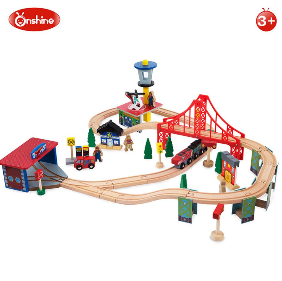 Onshine 70pcs Train Toy Model Cars Wooden Building Slot Track Rail Transit Parking Garage Toy Vehicles Kids Gifts
