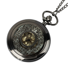 Roman digital quartz necklace pocket watch vintage bronze black pocket watch bracelet gift clock for men and women