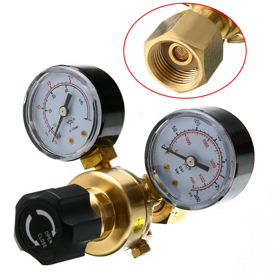1pc Brass Argon CO2 Gas Pressure Regulator Mig Tig Welding Flow Meter Gauge W21.8*1/4 Thread 0-20 mpa high quality 1 4pt thread 7mm barb argon gas flow meter welding weld regulator 0 15 mpa
