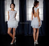 DAQ1650 Free Shipping Wholesale Sexy Cap Sleeves Lace Feather Mini Short White Backless Cocktail Dresses