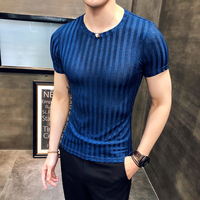 New summer men's T shirt Korean Slim trend round neck half sleeved shirt solid color bottoming shirt striped T shirt