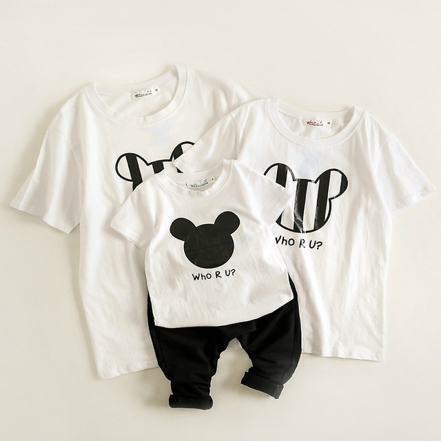c4123188 ChanJoyCC Family Matching Outfits T-shirt Summer New Mom Dad Baby Boy Girl  Print Letter Cartoon Short Sleeve T-shirt Kid Cotton