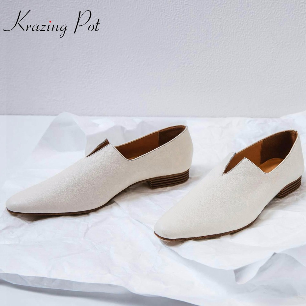 krazing Pot genuine leather slip on solid low heel gladiator square toe basic office lady solid beauty cozy lazy pumps woman L19
