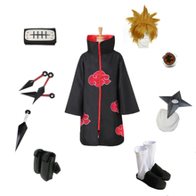 NARUTO Cosplay Akatsuki Ninja Pein Unisex Party Halloween Costume Including Red Cloud Cloak Headband Shoes Ring Kunai ETC.