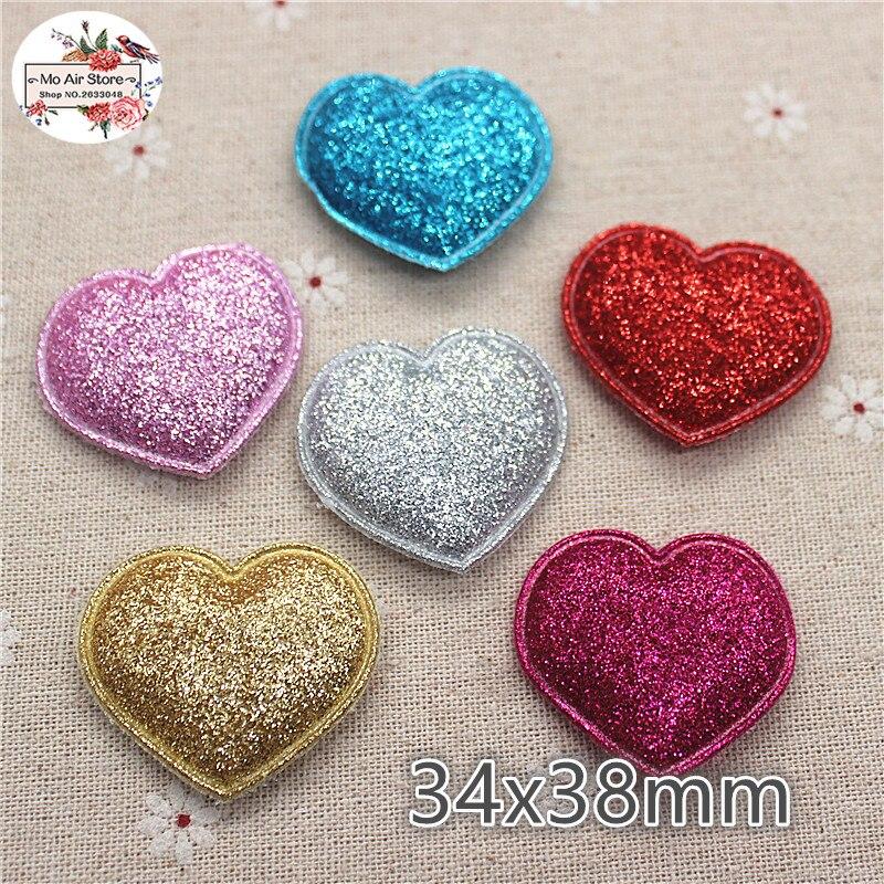 3.8 см 20 штук сердце нетканые патчи блеск Фетр аппликаций для одежды Вышивание товары DIY Craft Орнамент