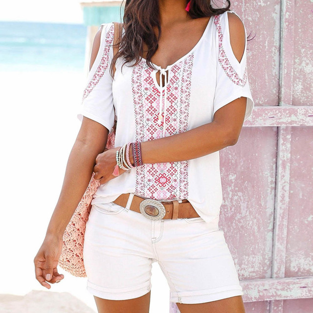 Short Sleeve Boho Top